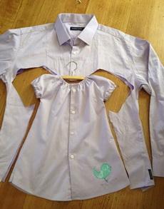 好创意,用大人衬衣给小孩做小裙子