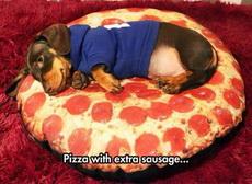 我的披萨上要多加一条腊肠
