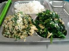 学校食堂给打的两个菜:鸡蛋炒韭菜和韭?#39034;?#40481;蛋