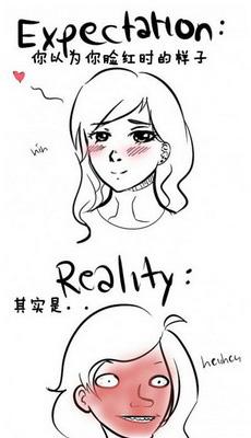 女孩子臉紅的時候,是真的很紅