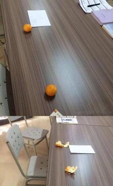 千万不要用橘子去占座