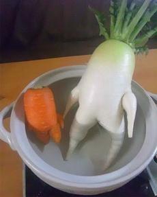 萝卜鸳鸯浴,出锅就能吃了