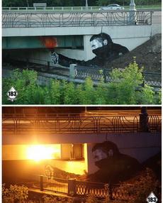 到了晚上,桥梁下方的灯光亮起之后……