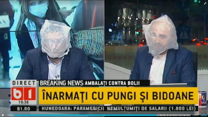 罗马尼亚没有口罩的新闻主播